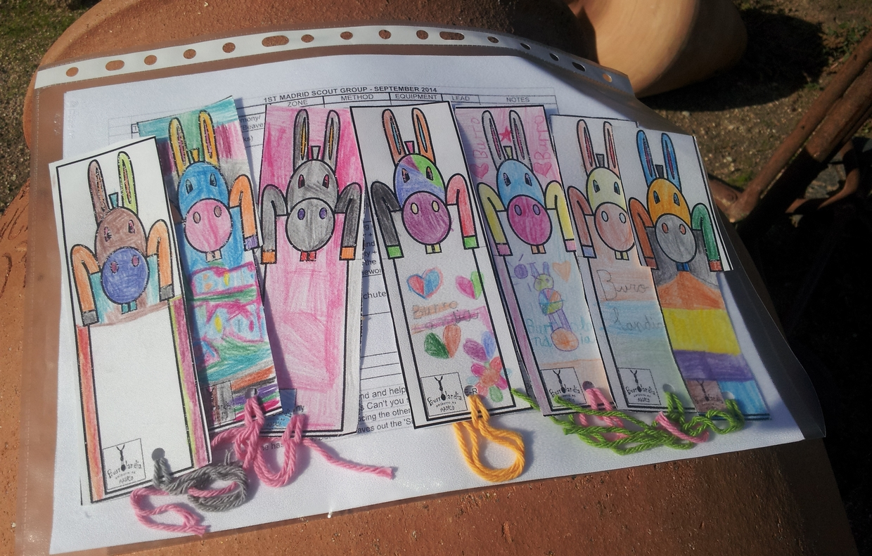 We all made book marks to take home with us
